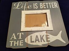 RUSTIC BLUE & WHITE PIER 1 IMPORTS LIFE IS BETTER AT THE LAKE 5X7 WALL FRAME