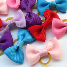 24pcs Mix Lots Pet Dog Hair Bows Rubber Band Grosgrain Ribbon Dog Grooming Bulk