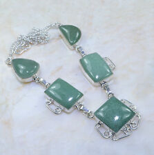 "Natural Amazonite Jasper 100% Pure 925 Sterling Silver Necklace 18.5"" #AA806"