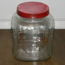 VINTAGE SQUARE GLASS PANTRY HOOSIER COOKIE JAR CANISTER RIBBED CORNERS RED LID