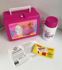 Vintage THERMOS Pink Plastic Hologram Barbie Lunch Box complete with Thermos (..