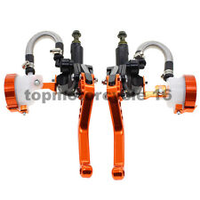 """FXCNC 125-600CC ORANGE Motorbike Hydraulic Cylinder Brake Clutch Lever 7/8""""22mm"""