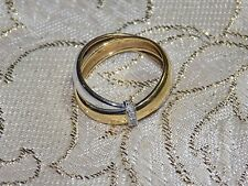 Beautiful 18KT Solid Yellow White Gold With 3 GENUINE DIAMONDS sz 6 1/2