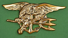 "NAVY SEAL Badge gold 1 1/2"" Movie Lapel Pin, Hat Pin (BUD Trident)"