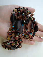 WOODEN TRIBAL BEADED NECKLACE SLICE BEADS ROUND BROWN AND TURQUOISE