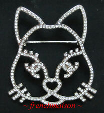 AUTHENTIC CHANEL CC Cat Choupette Lagerfeld BROOCH PIN Silver Crystal 2016 2017
