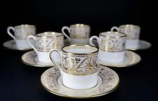 Wedgwood Florentine Gold Set of Six Demitasse Cups and Saucers