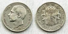 ALFONSO XII 1 PESETA 1883*18-83 MADRID ESTRELLAS BIEN VISIBLES MBC/VF
