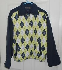 New! NAT NAST-50's Style ARGYLE! Navy Chartreuse White ROCKABILLY 100% Silk  M/L
