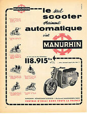 PUBLICITE ADVERTISING  1958   MANURHIN   scooter                          101013