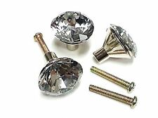 26mm Faceted Cut Glass Crystal Door Knob Handle Drawer Cabinet Furniture Kitchen