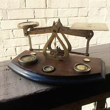 VINTAGE POST OFFICE letter brass balance SCALES & english weights  UK BRITISH