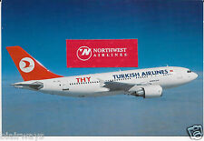 "TURKISH AIRLINES THY AIRBUS A-310 #TC-JDC 7"" X 5"" AIRLINE ISSUE POSTCARD"