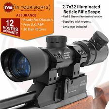 2-7x32 Illuminated reticle rifle scope. Shockproof riflescope & mounts
