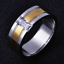 Fashion jewelry Yellow White GF Clear CZ Band Mens Ring Size 9