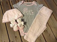 Juicy Couture Baby 4 pc Layette creeper pants hat & socks 3 / 6 m months new