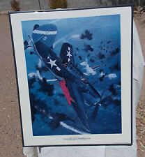 Framed Color Print of The SB2C Helldiver Attack Divebomer Aircraft In Combat