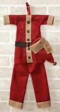 """New Primitive Country Christmas Red Hat SANTA SUIT Wall Hanger Decoration 20"""""""