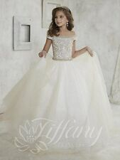 Tiffany Princess 13457 Champagne White Girls Pageant Gala Gown Dress sz 16