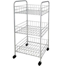 3 TIER SHELF KITCHEN CHROME STORAGE TROLLEY WHEELS VEG FRUIT CART STORAGE RACK