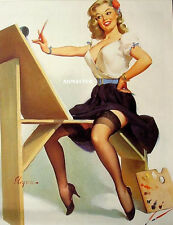 GIL ELVGREN PINUP POSTER ARTIST PAINTING SEXY HOT LEGS IN STOCKINGS & HEELS