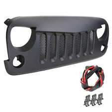 Black Abs Front Bumper Grill Guard+Honeycomb Insert For 07-15 Jeep Wrangler JK