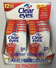 30 PACKS OF CLEAR EYES DROPS REDNESS RELIEF 0.2 OZ.6 ML EXP(2019)UP TO 12 HOURS