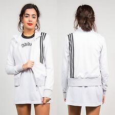 WOMENS VINTAGE 90'S STYLE ADIDAS WHITE TRACKSUIT JACKET TOP THREE STRIPE 8 10