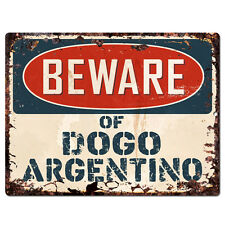 PPDG0083 Beware of DOGO ARGENTINO Plate Rustic TIN Chic Sign Decor Gift