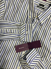 """Paul Smith Multistripe Shirt 17"""" Slim Fit Single Cuff Made in Italy RRP £145"""
