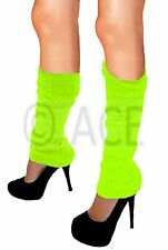 Womens Pair of Party LEGWARMERS Knitted Knit Neon Dance 80s Costume Leg Warmers