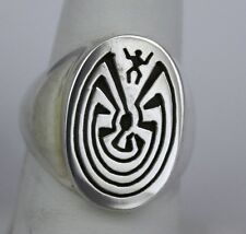 Navajo Indian Ring Size 9-1/2 Man-in-the-Maze Overlay Sterling Silver Calvin Pet