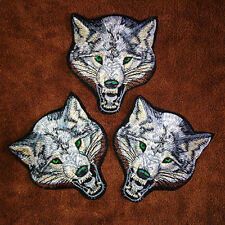 Animal wolf head iron on patches Sew-on embroidered patch motif applique   LE