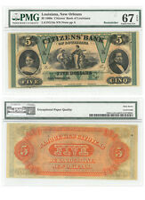 1860's $5 Note Bank of Louisiana New Orleans Pmg Superb Gem Unc 67 Sku39024