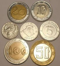 Algeria Set 7 coins 1 2 5 10 20 50 100 Dinars 1992-2013 mixed dates bi-metal