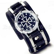 Military Army Mens Celtic Cross Dial Wide Leather Band Sport Quartz Wrist Watch