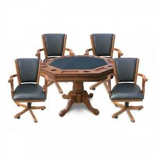 Dark Oak Kingston 3-In-1 Poker Table with Bumper Pool and 4 Chairs (NG2351)