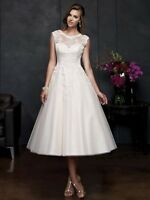 New White/Ivory Tea Length Short Lace Vintage Bridal Gown Wedding Dress Size6-18