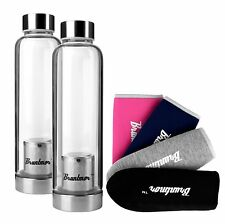 Bruntmor Glass Water Bottle with Fruit Infuser 17oz  - SET of 2 with 4 sleeves