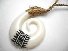 "31mm Carved Maori Hei Matau Tribal Tattoo Koru Buffalo Bone Fish Hook 26"" #2"