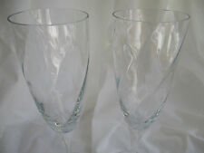 KOSTA BODA CHATEAU OPTIC SWIRL CRYSTAL CHAMPAGNE FLUTES - SET OF 2 - NEW