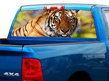 P516 Tiger Rear Window Tint Graphic Decal Wrap Back Truck Tailgate