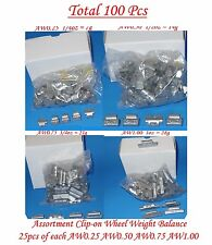 100 Pcs ASSORTMENT CLIP-ON WHEEL WEIGHT BALANCE AW STYLE 0.25 0.50 0.75 1.00 oz