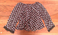Express Women Peasant Top XS Black Floral Lace Long Sleeve Fabric Button New