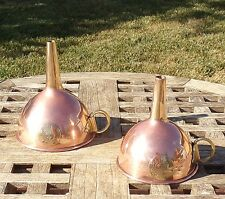 Set of 2 Copper Funnels w/ brass accent, Made in India