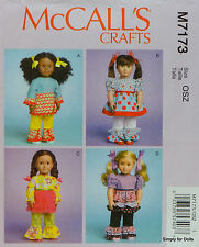"""McCall's 7173 Sewing PATTERN for 18"""" American Girl DOLL CLOTHES 4 Outfits NEW"""