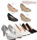 Women's Platform Wedge Heel Round Toe Slip On Sandal Shoes Size 5 - 10 NEW