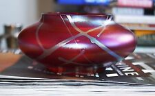 Okra Glass Bowl of Squat Form with Iridescent Lines on Pink Ground 13.5 cm diam.