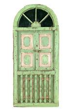 Indien 2x große halbrunde Fenster Einbau Segment grüne Antiklook Goa ca 1925