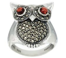 New in Box Wow Sterling Silver Owl Garnet Eyes Marcasite Ring Size 9 A Stunner!